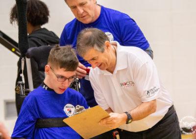 Player and referee at the Canadian Boccia Championships, 2019